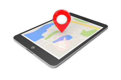 Navigation via Tablet PC. Location Pointer on Tablet PC with Map on a white background. 3d Rendering